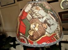 VINTAGE SWEET LITTLE NURSERY LAMPSHADE WITH GREEN BRAID BADGER CAR PIGLET RABBIT